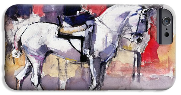 Horseback iPhone Cases - Side-saddle At The Feria De Sevilla, 1998 Mixed Media On Paper iPhone Case by Mark Adlington