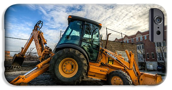 Backhoe iPhone Cases - Side View of a Backhoe at Sunset iPhone Case by Anthony Doudt