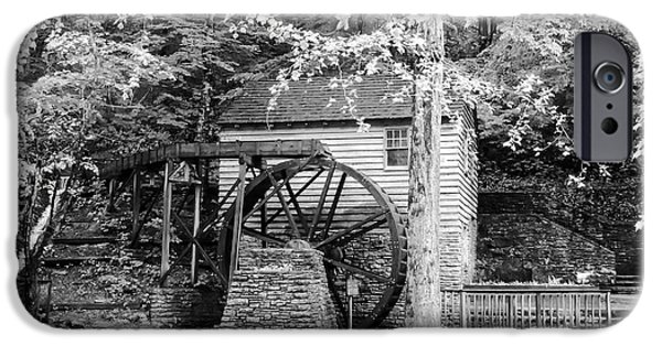 Tennessee Historic Site iPhone Cases - Side View of Rice Grist Mill Norris Dam State Park Tennessee - BW iPhone Case by Cynthia Woods
