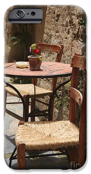 Patio Table And Chairs iPhone Cases - Sidewalk cafe  iPhone Case by Patricia Hofmeester