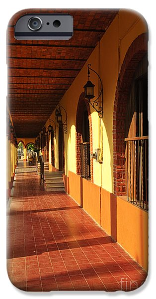 Window Cover iPhone Cases - Sidewalk in Tlaquepaque district of Guadalajara iPhone Case by Elena Elisseeva