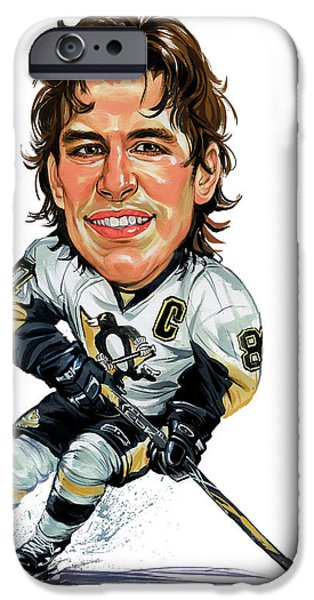 Hockey Paintings iPhone Cases - Sidney Crosby iPhone Case by Art