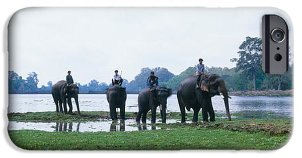 Animals Photographs iPhone Cases - Siem Reap River & Elephants Angkor Vat iPhone Case by Panoramic Images