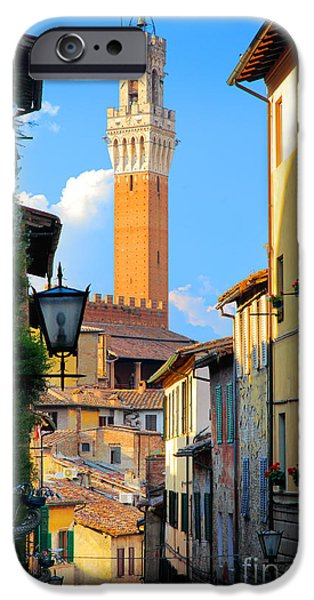 Tuscan Sunset iPhone Cases - Siena Streets iPhone Case by Inge Johnsson
