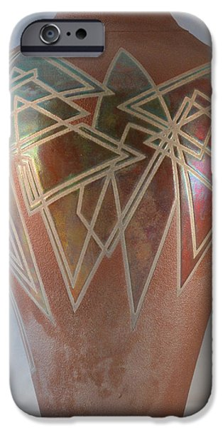 Pines Ceramics iPhone Cases - Sienna/Copper Penny Geometrics iPhone Case by Chris Tennis