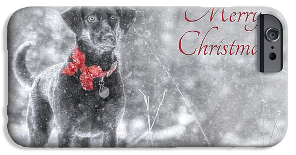 Chocolate Lab Digital Art iPhone Cases - Sienna - Merry Christmas iPhone Case by Lori Deiter
