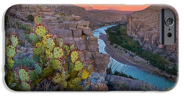 Drama iPhone Cases - Sierra del Carmen and the Rio Grande iPhone Case by Inge Johnsson