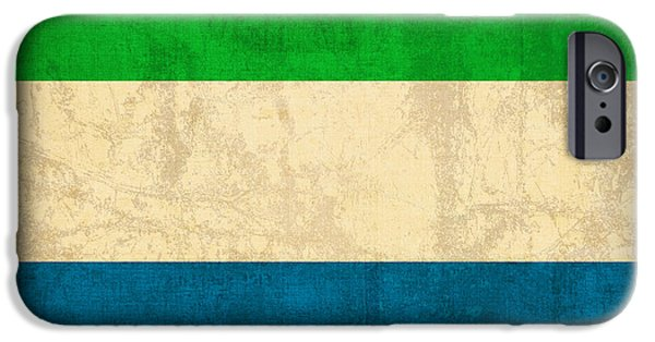 Sierras iPhone Cases - Sierra Leone Flag Vintage Distressed Finish iPhone Case by Design Turnpike