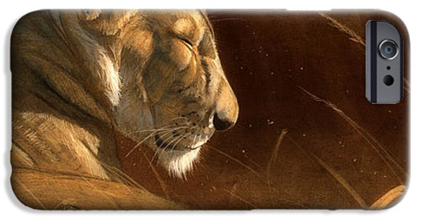 Lion Digital iPhone Cases - Siesta iPhone Case by Aaron Blaise