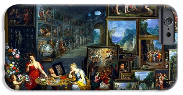 Abundance iPhone Cases - Sight And Smell Oil On Canvas iPhone Case by Jan the Elder Brueghel
