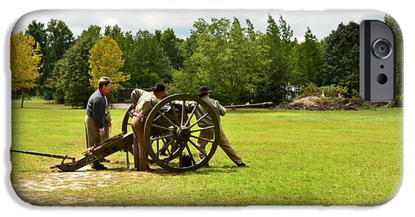 Civil War Re-enactment iPhone Cases - Sighting In of a Civil War Canon iPhone Case by Bob Sample