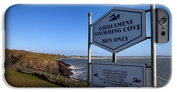 Sign-writing iPhone Cases - Sign At Guillamene Swimming Cove iPhone Case by Panoramic Images