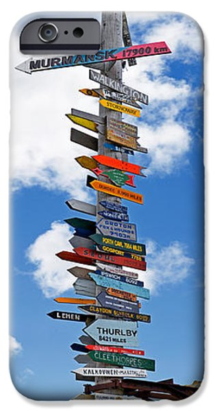 Sign iPhone Cases - Sign Post Showing Distances To Various iPhone Case by Panoramic Images