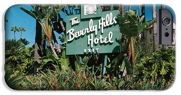 Board iPhone Cases - Signboard Of A Hotel, Beverly Hills iPhone Case by Panoramic Images