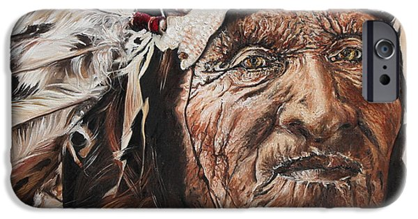 Native American Spirit Portrait iPhone Cases - Signs of His Times iPhone Case by Annalise Kucan