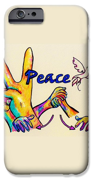 SIGNS OF PEACE iPhone Case by Eloise Schneider