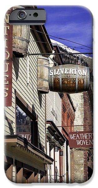 Business Photographs iPhone Cases - Signs of Silverton Colorado iPhone Case by Janice Rae Pariza