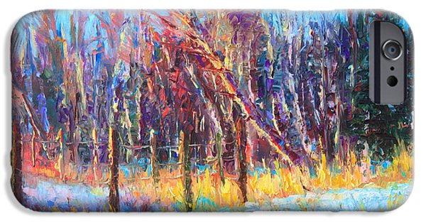 Change Paintings iPhone Cases - Signs of Spring - trees and snow kissed by spring light iPhone Case by Talya Johnson
