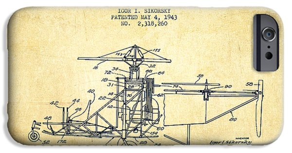 Helicopter iPhone Cases - Sikorsky Helicopter patent Drawing from 1943-Vintage iPhone Case by Aged Pixel