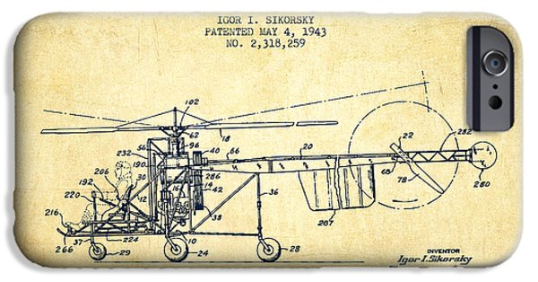 Helicopter iPhone Cases - Sikorsky Helicopter patent Drawing from 1943-Vintgae iPhone Case by Aged Pixel
