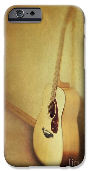 Guitar iPhone Cases - Silent Guitar iPhone Case by Priska Wettstein