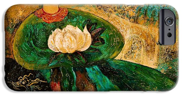 Buddhism Paintings iPhone Cases - Silent Lotus iPhone Case by Shijun Munns