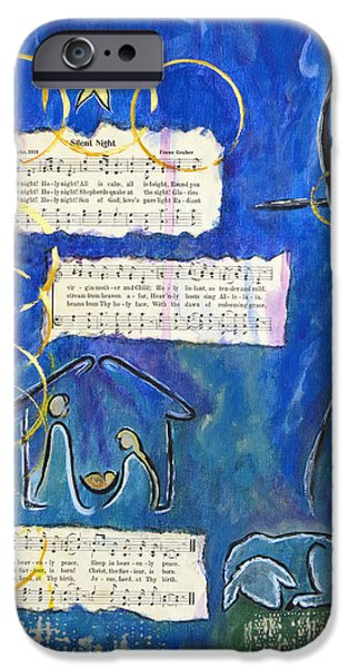 Night Angel Mixed Media iPhone Cases - Silent Night A Holy Night - Original Painting by Ella iPhone Case by Ella Kaye Dickey