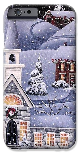 Covered Bridge Paintings iPhone Cases - Silent Night iPhone Case by Catherine Holman