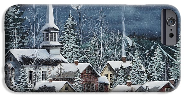 Recently Sold -  - New England Snow Scene iPhone Cases - Silent Night iPhone Case by Debbi Wetzel