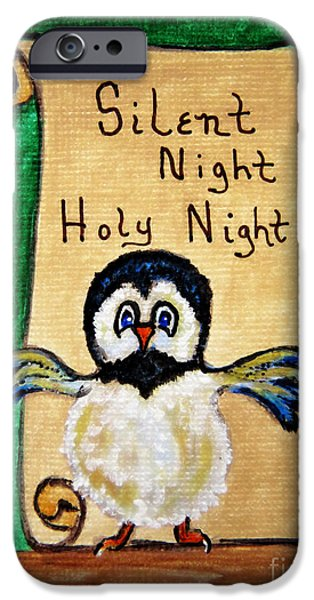 Night Angel Mixed Media iPhone Cases - Silent Night - Whimsical Chickadee Choir Director iPhone Case by Ella Kaye Dickey