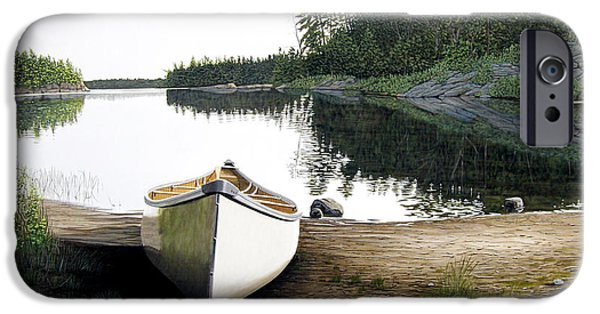 Canoe iPhone Cases - Silent Retreat iPhone Case by Kenneth M  Kirsch