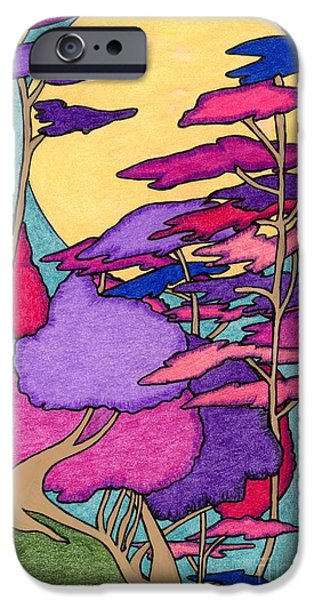 Sea Moon Full Moon Drawings iPhone Cases - Silent Sound iPhone Case by Mag Pringle Gire