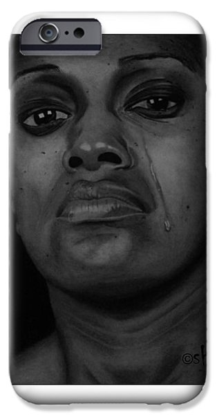 Shed Drawings iPhone Cases - Silent Tears iPhone Case by Barnabas Adeleke