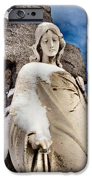 Angel Blues iPhone Cases - Silent Winter Angel iPhone Case by Gothicolors Donna Snyder