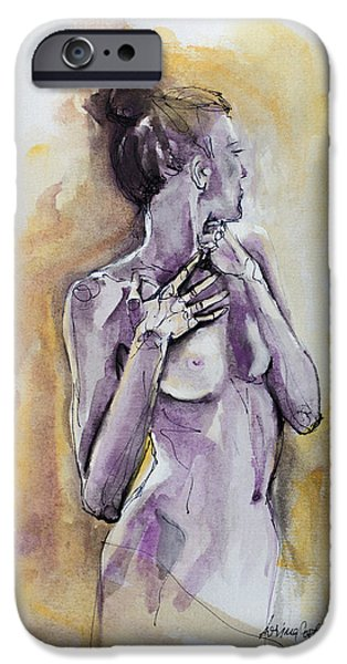 Figure Mixed Media iPhone Cases - Silhouette In Purple iPhone Case by Dorina  Costras