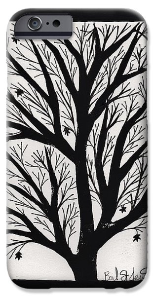 Lino Drawings iPhone Cases - Silhouette Maple iPhone Case by Barbara St Jean
