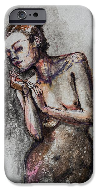 Silhouette Mixed Media iPhone Cases - Silhouette - Nude 1 iPhone Case by Dorina  Costras