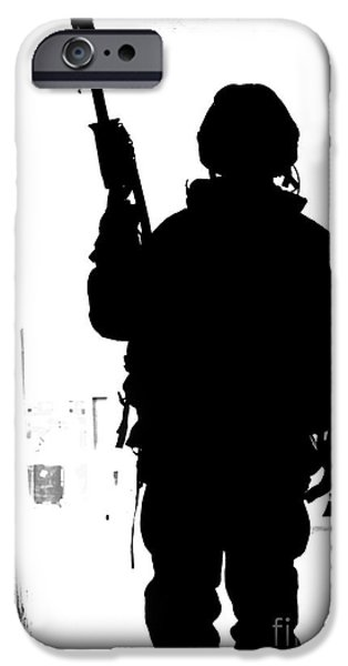 Iraq iPhone Cases - Silhouette Of A British Soldier iPhone Case by Andrew Chittock