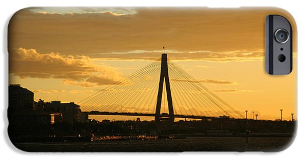 Island Stays iPhone Cases - Silhouette of a cable-stayed bridge iPhone Case by Celso Diniz