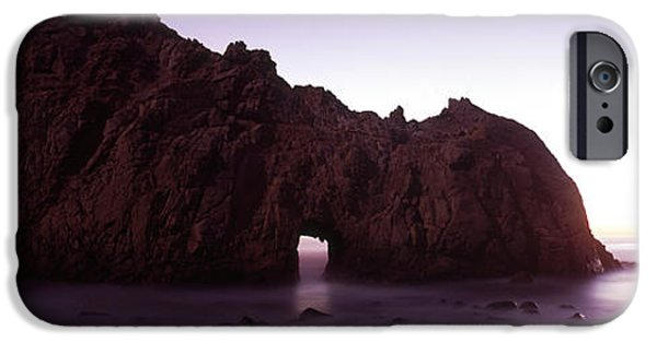 Big Sur Beach iPhone Cases - Silhouette Of A Cliff On The Beach iPhone Case by Panoramic Images