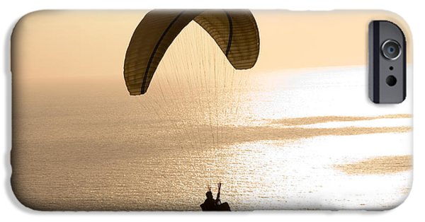 Getting Away From It All iPhone Cases - Silhouette Of A Paraglider Flying iPhone Case by Panoramic Images