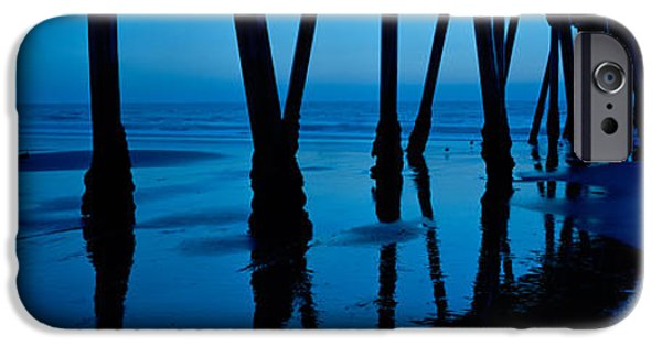 Getting Away From It All iPhone Cases - Silhouette Of A Pier, Hermosa Beach iPhone Case by Panoramic Images