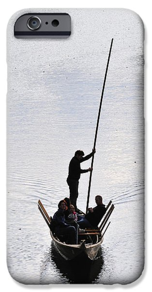 Punting iPhone Cases - Silhouette of a punt on the river iPhone Case by Matthias Hauser