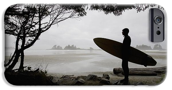 Surf Silhouette iPhone Cases - Silhouette Of A Surfer Looking Out To iPhone Case by Deddeda