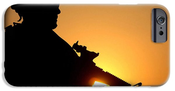 Iraq iPhone Cases - Silhouette Of A U.s. Army Soldier iPhone Case by Stocktrek Images