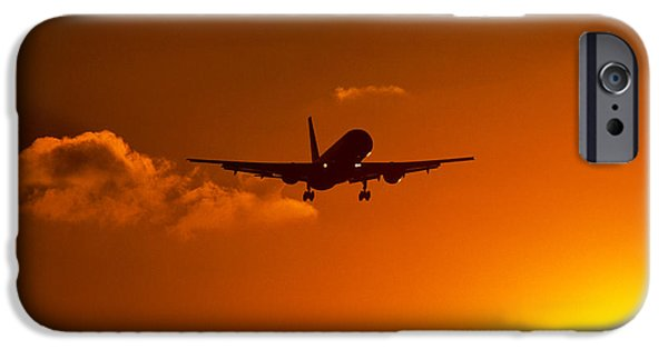 Airliner iPhone Cases - Silhouette Of Airliner In Golden Sunset iPhone Case by Panoramic Images