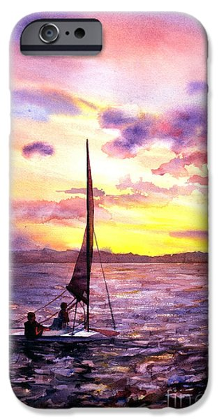 Chicago Paintings iPhone Cases - Silhouette of boat and sailors on Torch Lake Michigan USA iPhone Case by Ryan Fox