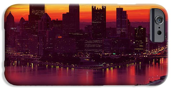 Locations iPhone Cases - Silhouette Of Buildings At Dawn, Three iPhone Case by Panoramic Images