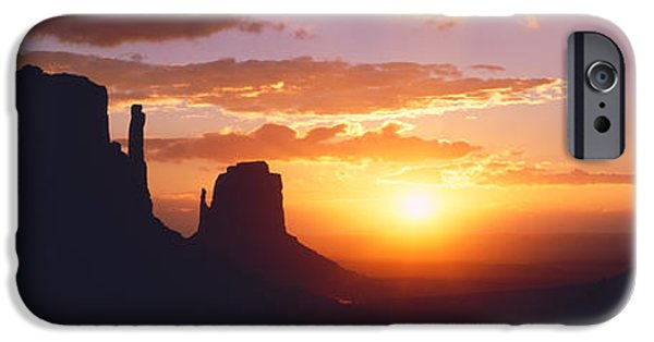 Park Scene iPhone Cases - Silhouette Of Buttes At Sunset, The iPhone Case by Panoramic Images
