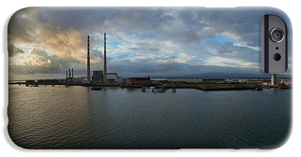 Power iPhone Cases - Silhouette Of Chimneys Of The Poolbeg iPhone Case by Panoramic Images